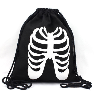 Skeleton Ribs Drawstring Bag - The Twinees