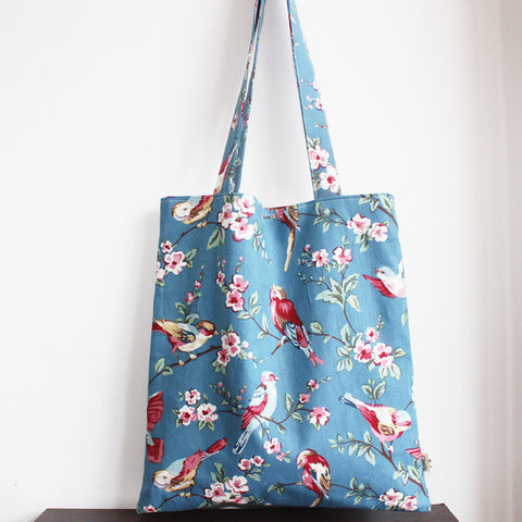 Light Blue Floral Birds Tote Bag - The Twinees