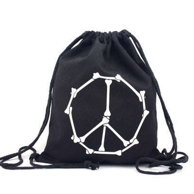 Skeletal Peace Drawstring Bag - The Twinees