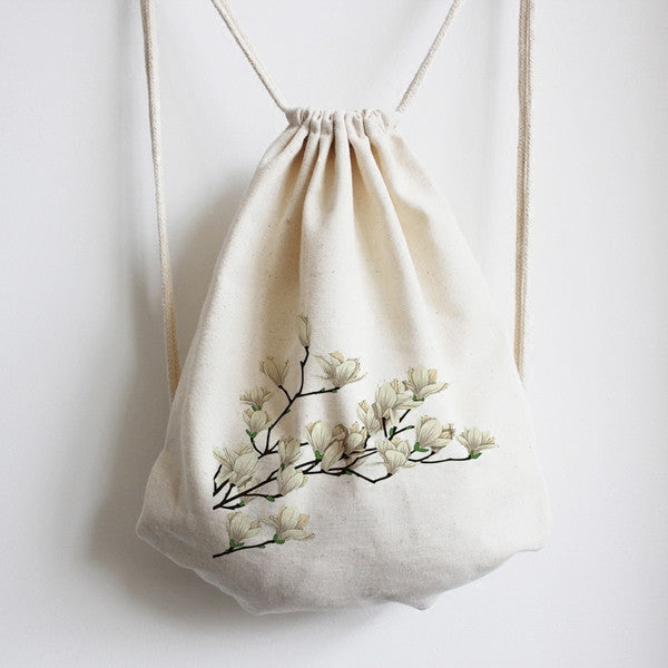 Blooming Gardenia Flowers Drawstring Bag - The Twinees