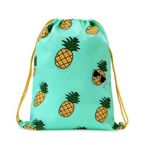Pineapple Patterned Drawstring Bag - The Twinees
