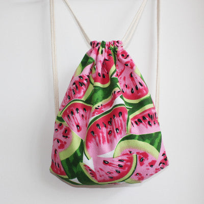 Watermelon Patterned Drawstring Bag - The Twinees
