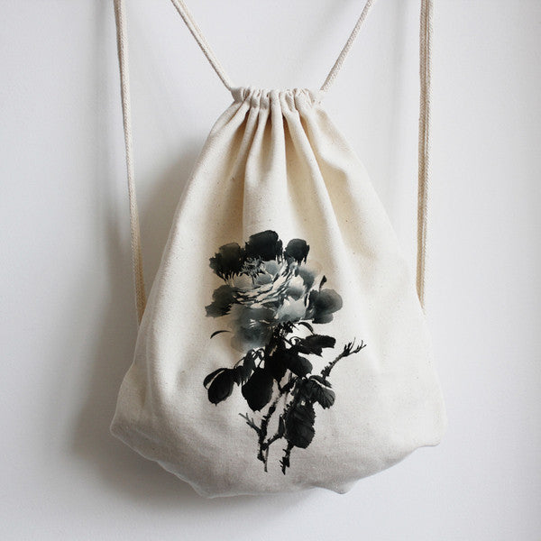 Black Peony Calligraphy Drawstring Bag - The Twinees