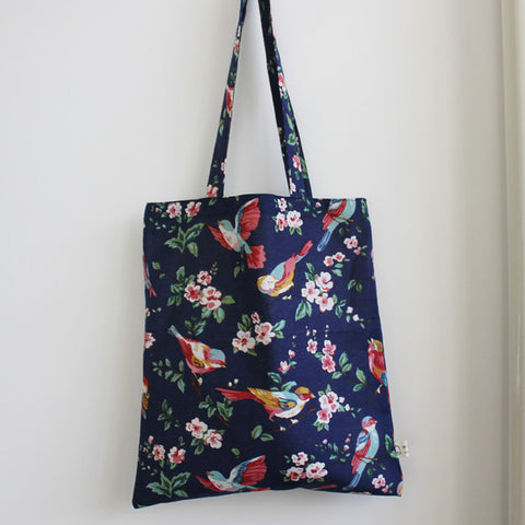 Dark Blue Floral Birds Tote Bag - The Twinees