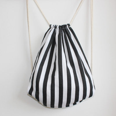 B&W Striped Drawstring Bag - The Twinees