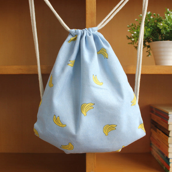 Sky Blue Banana Patterned Drawstring Bag - The Twinees