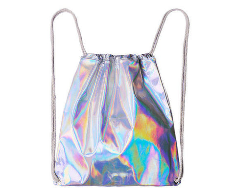 Silver Holographic Drawstring Bag