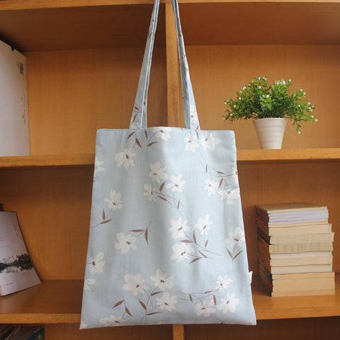 Light Blue Dainty Flowers Tote Bag - The Twinees