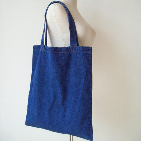 Dark Blue Denim Tote Bag - The Twinees