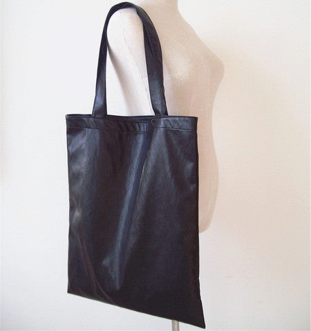Black Soft Pleather Tote Bag - The Twinees