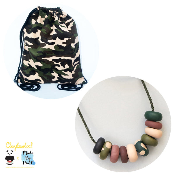 Military Style Camouflage Green Bundle (Bag + Necklace) - The Twinees
