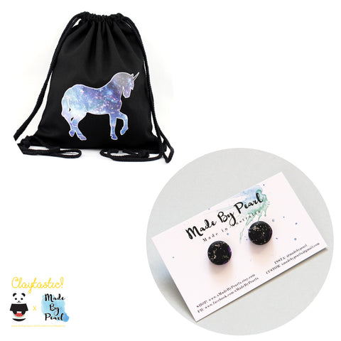 Galactical Bundle: Galactical Unicorn Drawstring (Bag + Earrings) - The Twinees
