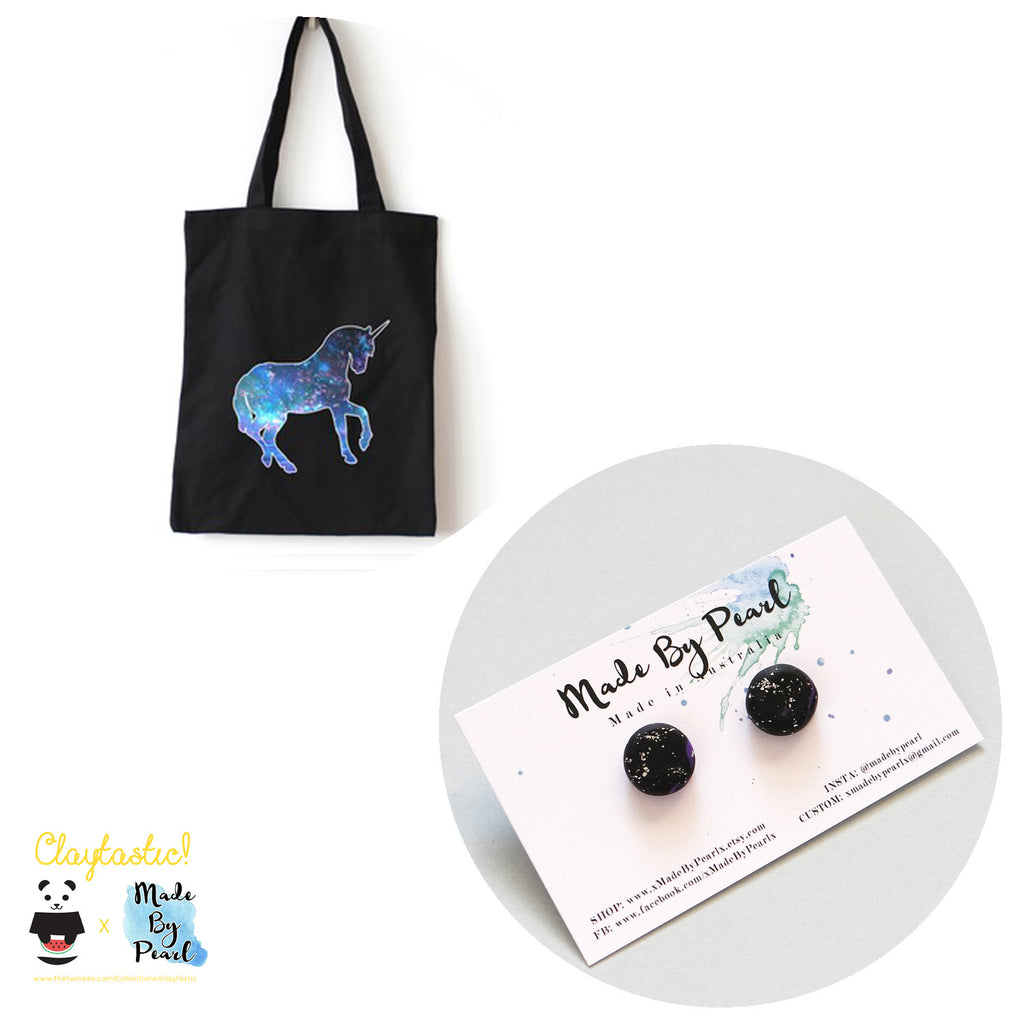 Galactical Bundle: Galactical Unicorn Tote (Bag + Earrings) - The Twinees