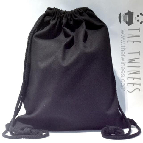 Black Plain Canvas Drawstring Bag - The Twinees