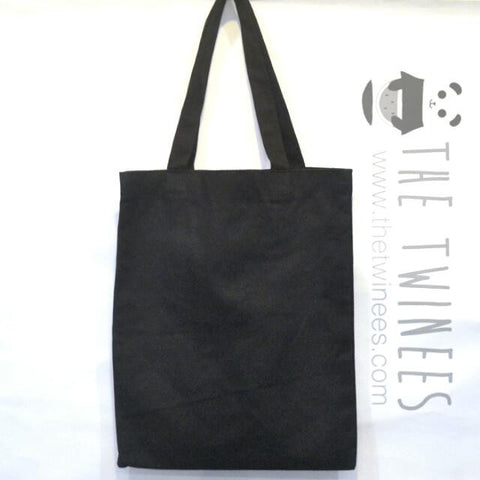 Black Plain Canvas Tote Bag - The Twinees