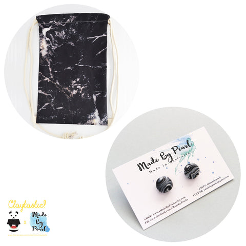 Minimalist Marblelicious Bundle: Black Marble (Bag + Earrings) - The Twinees