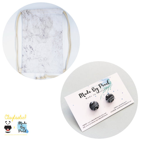 Minimalist Marblelicious Bundle: White Marble (Bag + Earrings) - The Twinees