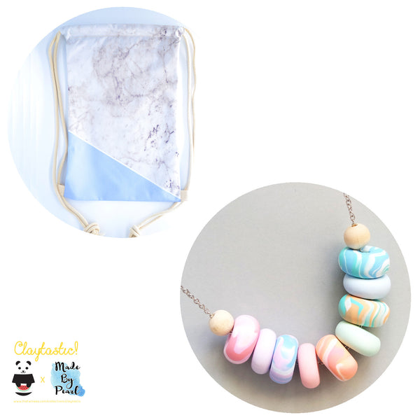Paddlepop Swirl Bundle: Blue Marblelicious (Bag + Necklace) - The Twinees