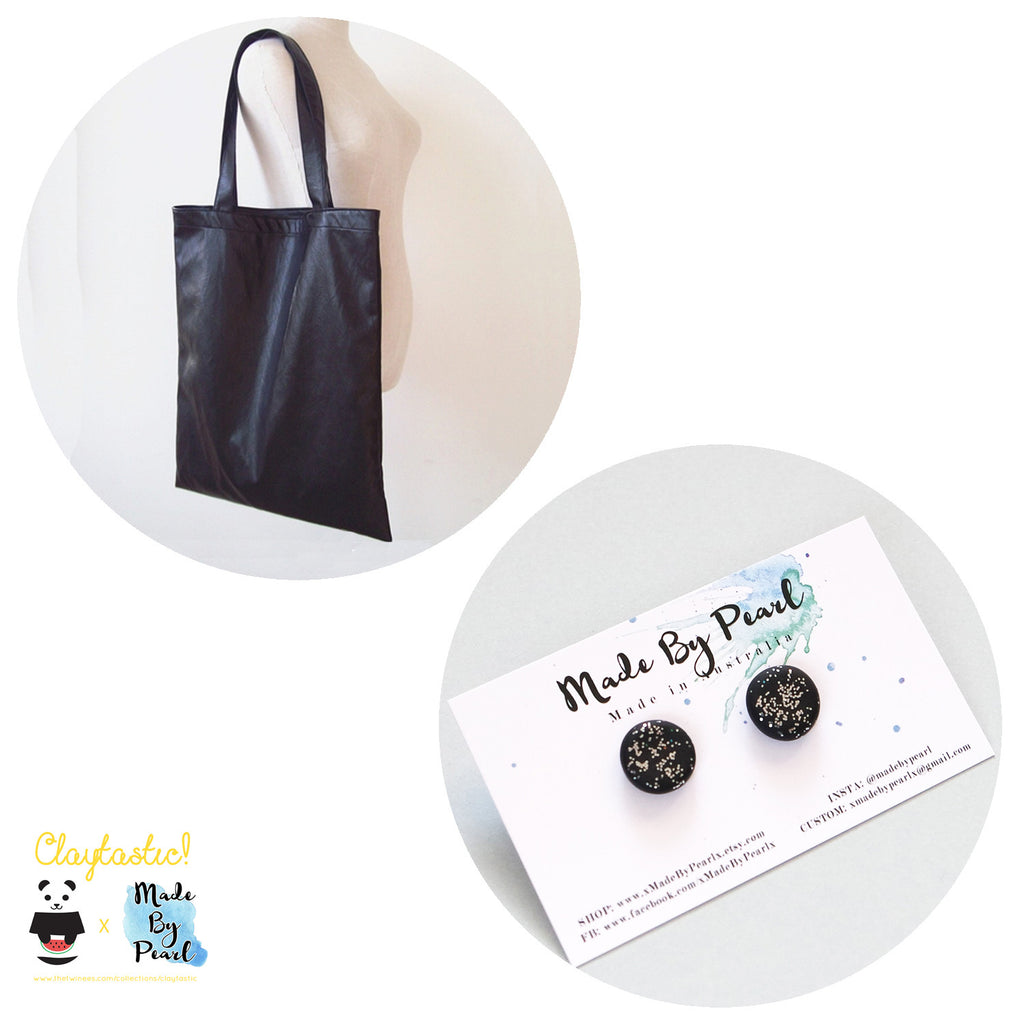 Pleather & Shine Tote Bundle (Bag + Earrings) - The Twinees