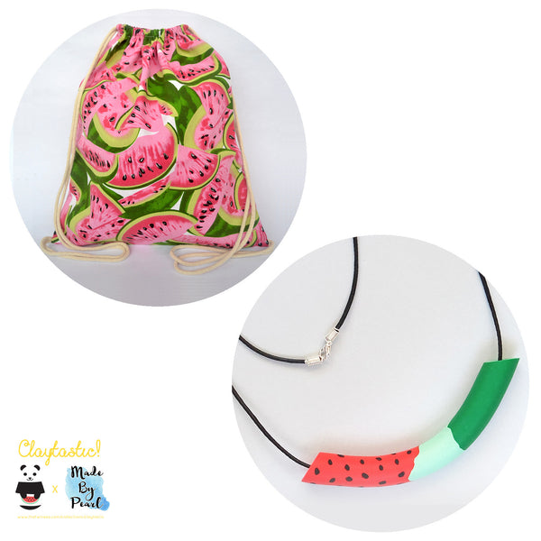 Jolly Watermelon Bundle: Watermelon Patterned Drawstring (Bag + Necklace) - The Twinees