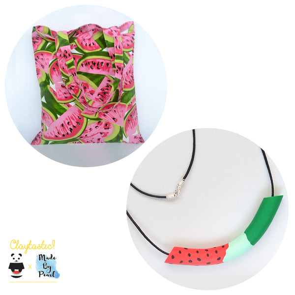 Jolly Watermelon Bundle: Watermelon Patterned Tote (Bag + Necklace) - The Twinees