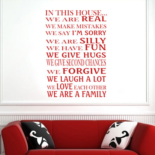 in this house we are a family vinyl decal wall decor art sticker v11