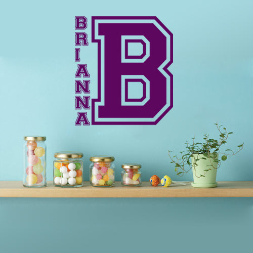 Personalized college letter initial and name vinyl sticker wall decal