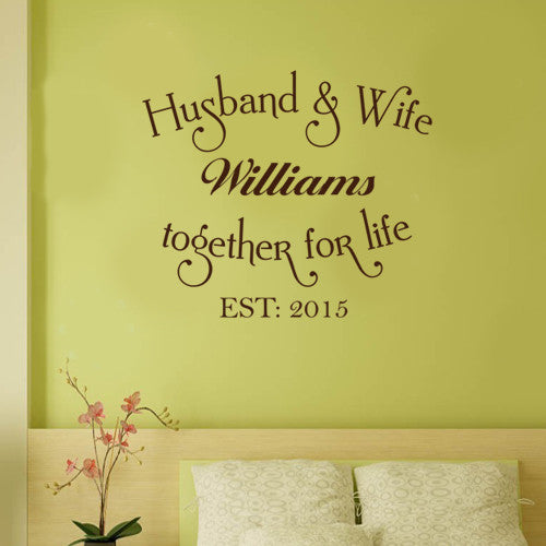 PERSONALIZED NAME AND EST DATE HUSBAND AND WIFE TOGETHER FOR LIFE ...