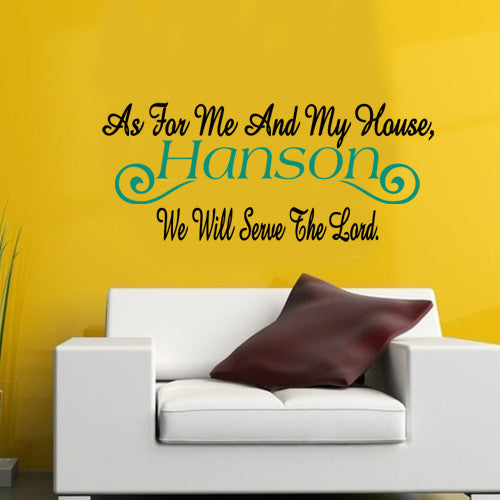 PERSONALIZED AS FOR ME AND MY HOUSE Vinyl Decal Wall Decor Art Sticker V35