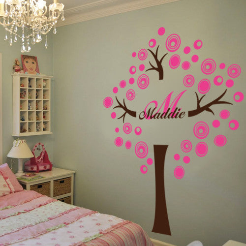 PERSONALIZED CIRCLE TREE WITH NAME AND INITIAL Vinyl Decal Wall - Vinyl decals for the wall