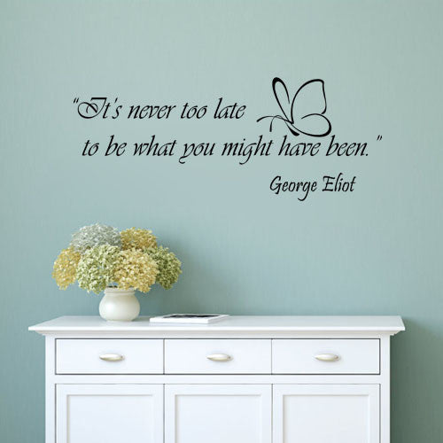 Its Never Too Late Vinyl Decor Decal Art Wall Sticker