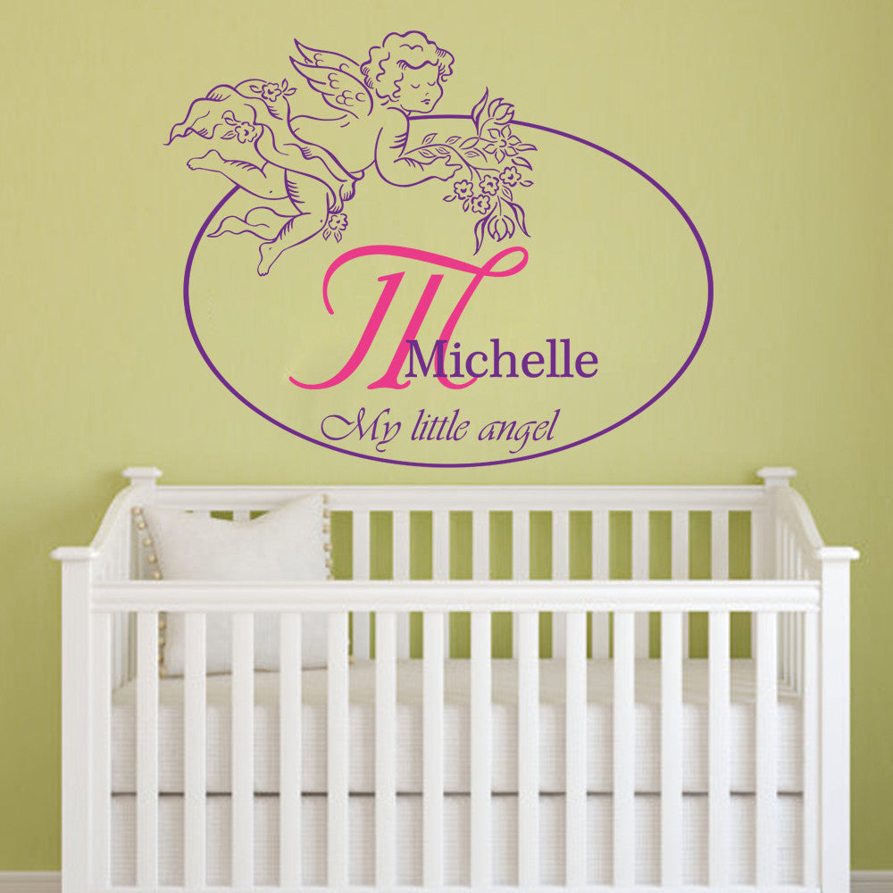 Little Angel Girls Personalized Vinyl Decal Wall Decor Art Sticker ...