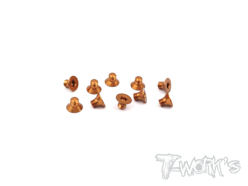 ASS-304CO 7075-T6 Hex. Countersink Screw (Orange) 3mm x 4mm 10pcs.