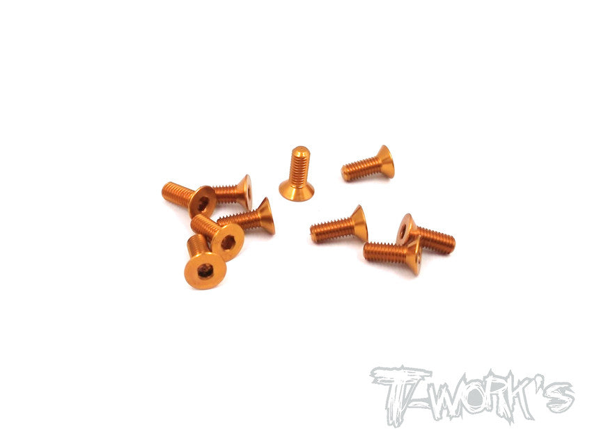 ASS-308CO 7075-T6 Hex. Countersink Screw (Orange) 3mm x 8mm 10pcs.
