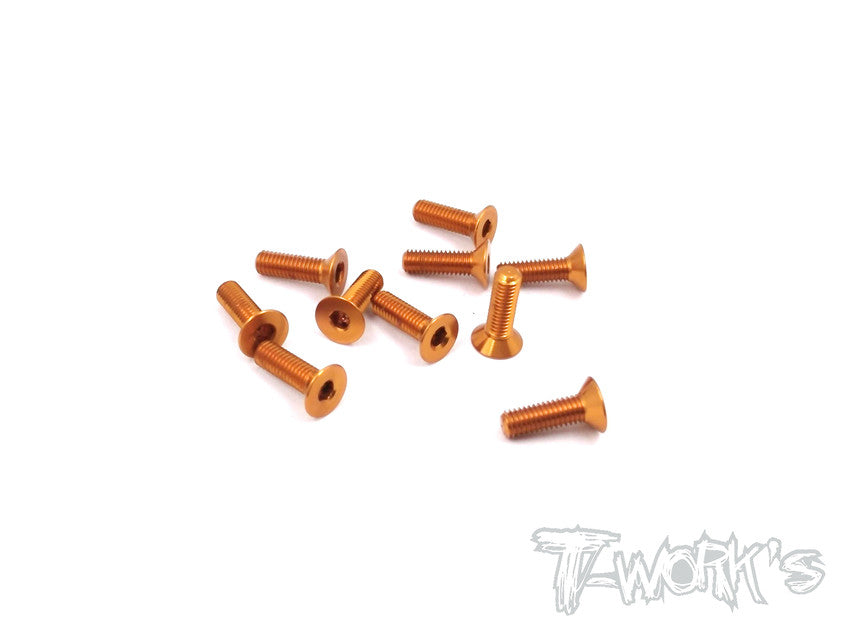 ASS-310CO 7075-T6 Hex. Countersink Screw (Orange) 3mm x 10mm 10pcs.