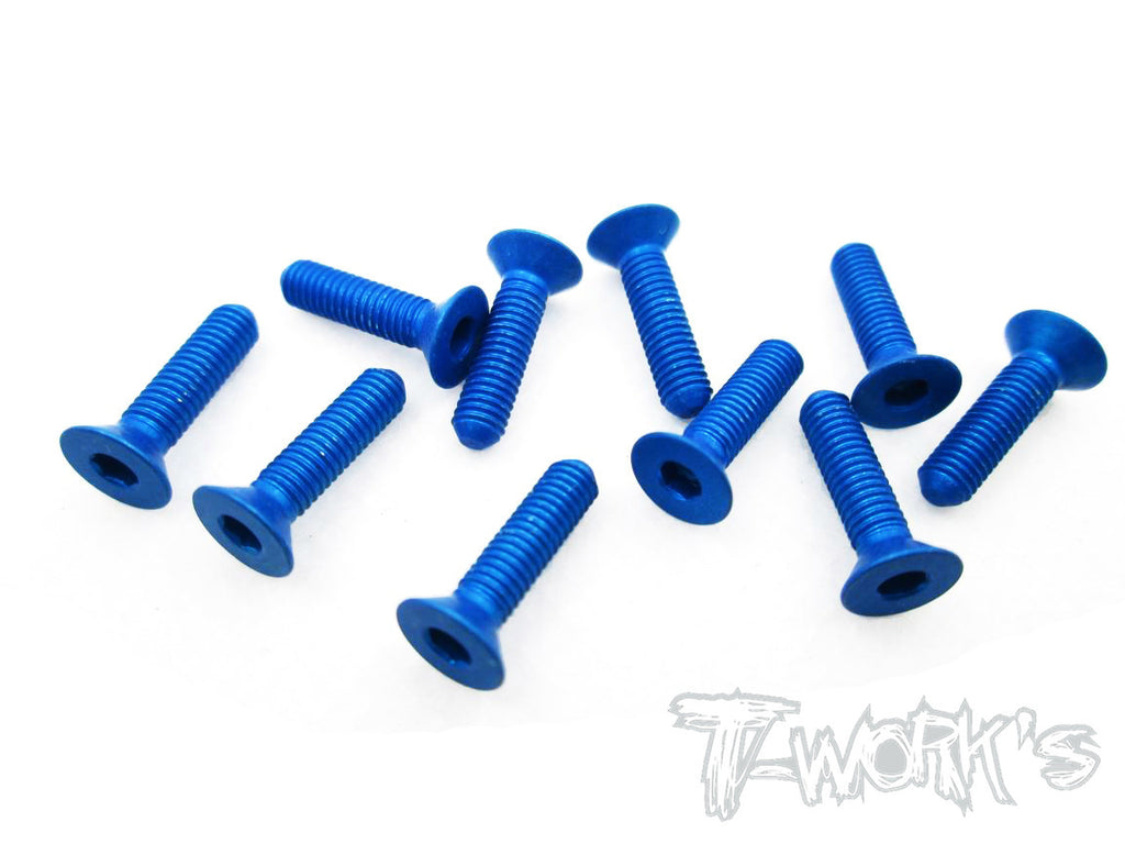 ASS-312CDB 7075-T6 Hex. Countersink Screw (Dark Blue) 3mm x 12mm 10pcs.