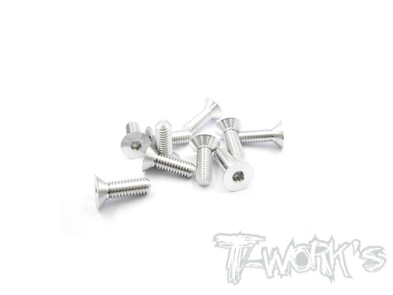 ASS-412CS 7075-T6 Hex. Countersink Screw (Silver) 4mm x 12mm 10pcs.