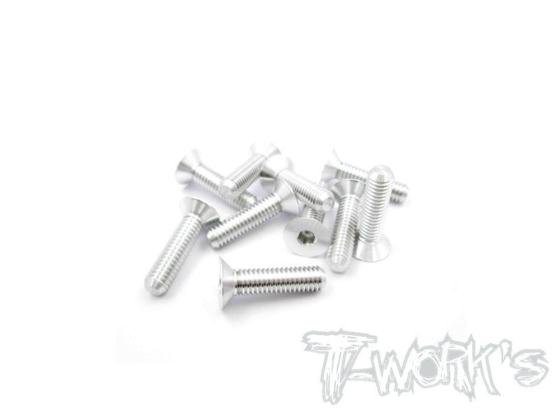 ASS-416CS 7075-T6 Hex. Countersink Screw (Silver) 4mm x 16mm 10pcs.