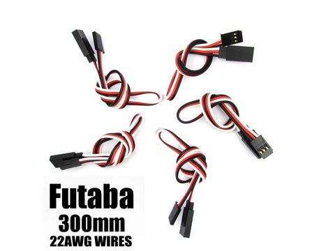 EA-007-5 Futaba Extension with 22 AWG heavy wires 300mm 5pcs.