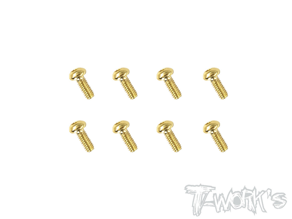 GSS-206B 2mmx6mm Gold Plated Steel Button Head Screws(8pcs.)