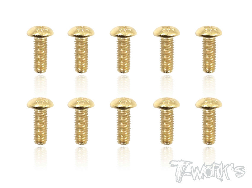 GSS-308B 3mmx8mm Gold Plated Button Head Steel Screws(10pcs.)