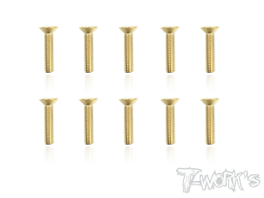 GSS-314C 3mmx14mm Gold Plated Hex. Countersink Steel Screws(10pcs.)