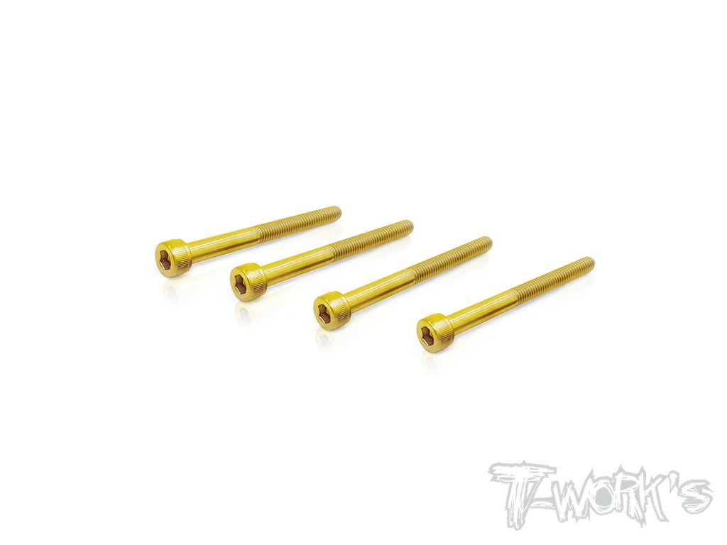 GSS-335HH 3mmx35mm Gold Plated Steel Hex. Socket Head Half Thread Screws(4pcs.)