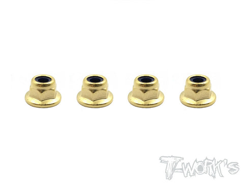GSS-3FLN  Golden Plated Flat M3 Lock Nuts ( 4pcs. )