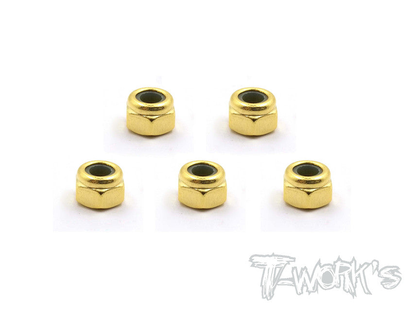 GSS-4LN  Golden Plated M4 Lock Nuts ( 5pcs. )