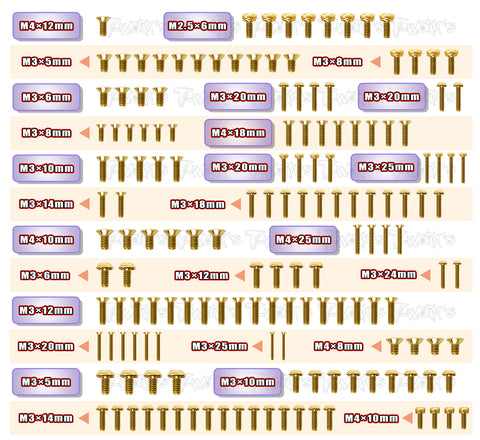 GSS-A319E Gold Plated Steel Screw Set 154pcs. ( For Agama A319E )