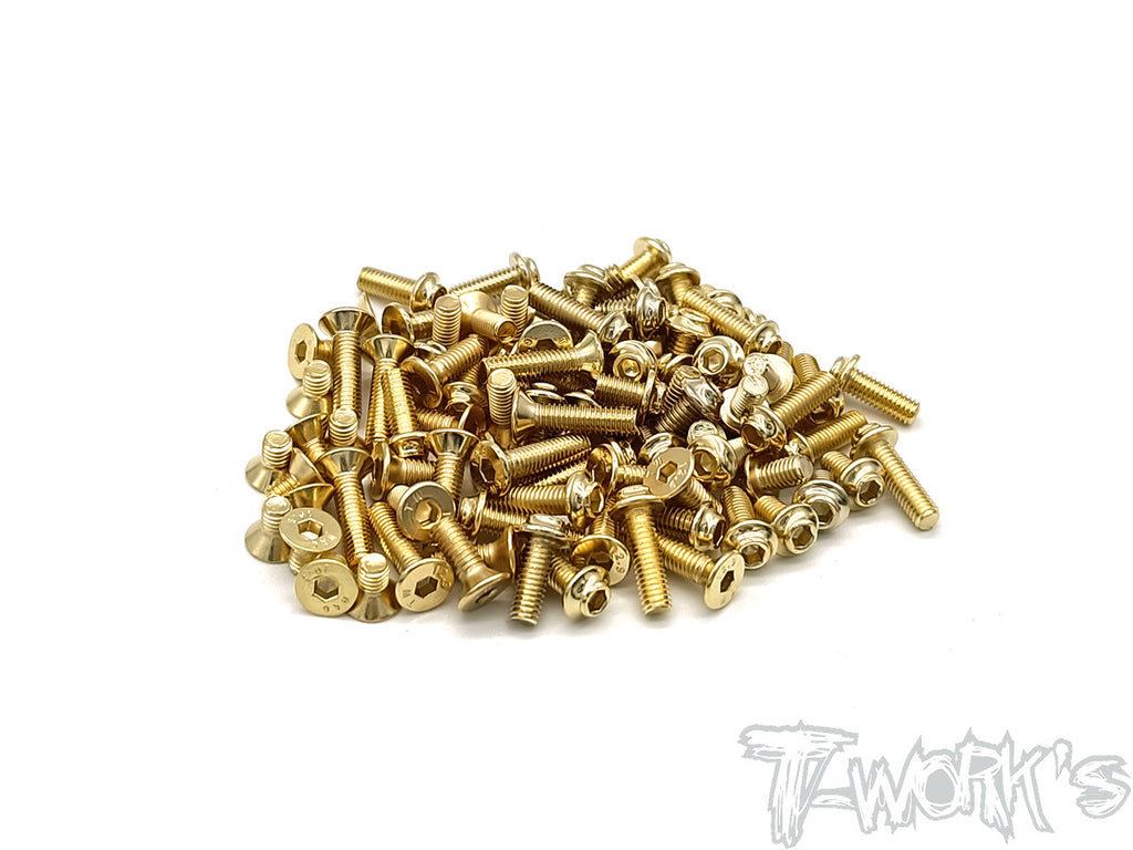 GSSU-BD10-T-LC Gold Plated Steel UFO Low Profile Top Screw set 54pcs.( For Yokomo BD10 LC )