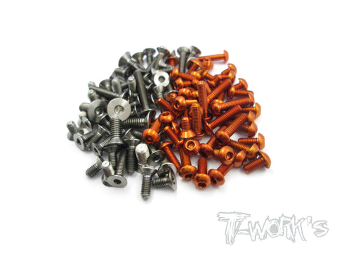 TASS-X1'18 64 Titanium &7075-T6 Orange Screw set 89pcs.(For Xray X1 2018)
