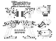 TS-043 Shiny Graphite Sticker (For Sanwa & Airtronics MT44 )