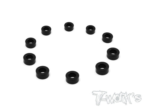 TA-103BK 7075-T6 3x2.5mm Bore Washer 10Pcs.( Black )